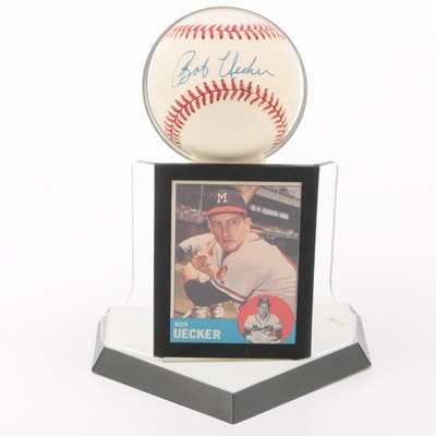 Bob Uecker Signed National League Baseball with a 1963 Topps Card