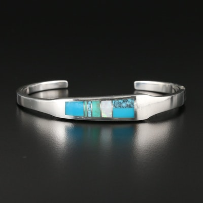 Southwestern Sterling Silver Turquoise and Opal Inlay Mosaic Cuff Bracelet