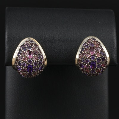 """John Hardy """"Colorway"""" Sterling Amethyst and Tourmaline Earrings with 18K Accents"""
