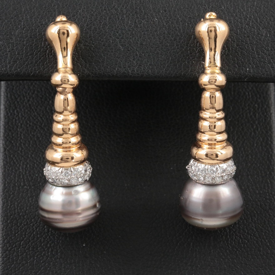 18K Yellow Gold Pearl and Diamond Drop Earrings