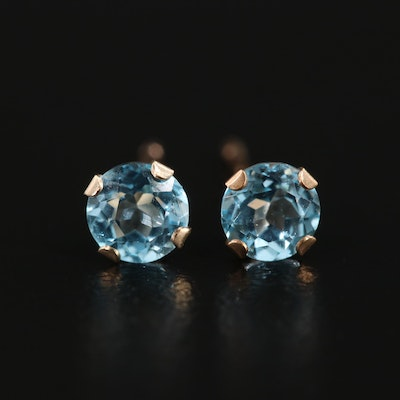 10K Yellow Gold Topaz Stud Earrings