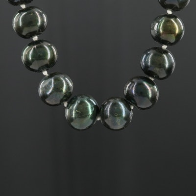 14K Yellow Gold Pearl Knotted Necklace