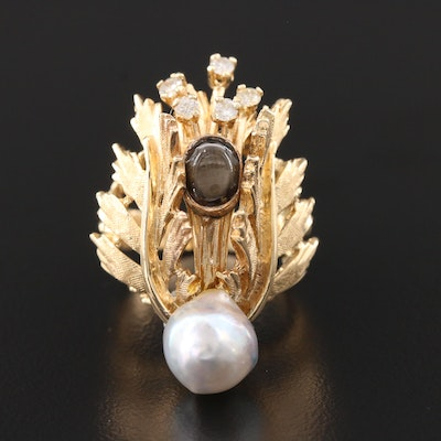 Circa 1950 Karbra 14K Yellow Gold Pearl, Star Sapphire and Diamond Ring
