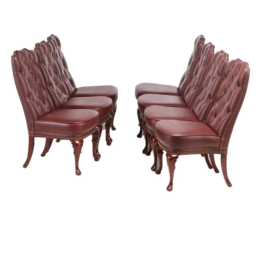 Seven George II Style Mahogany-Stained and Button-Tufted Vinyl Side Chairs