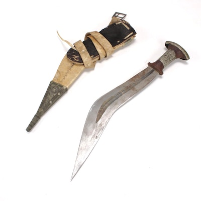 African Style Jile Long Knife with Scabbard, Vintage