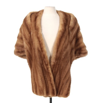 Light Brown Mink Fur Stole with Pockets from Wolf & Dessauer, 1950s Vintage