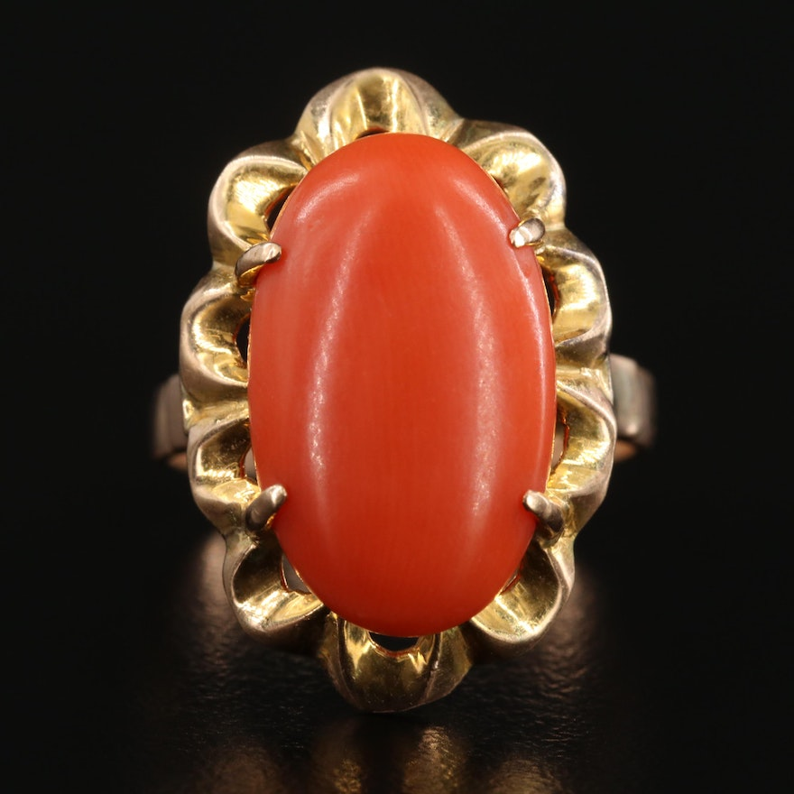 14K Yellow Gold Coral Scalloped Ring