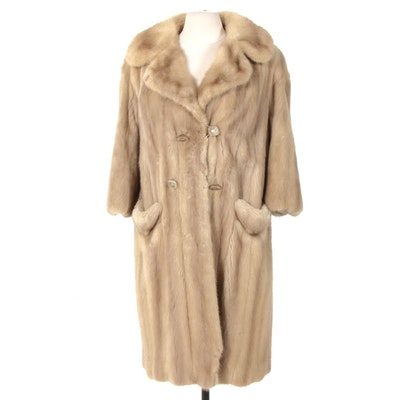 Mink Fur Double-Breasted Coat with Wide Notched Collar, Vintage