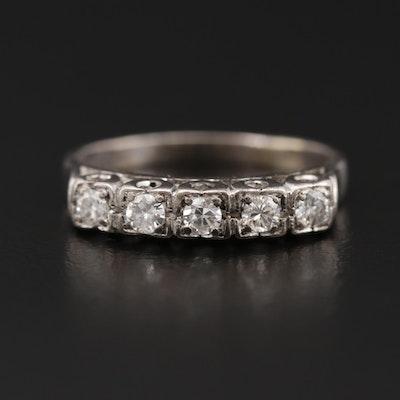 Vintage Silver Palladium Alloy Diamond Ring