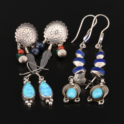 Southwestern Sterling Silver Earrings with Opal, Lapis Lazuli and Malachite