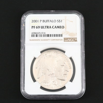 NGC PF69 Ultra Cameo 2001 American Buffalo Commemorative Proof Silver Dollar