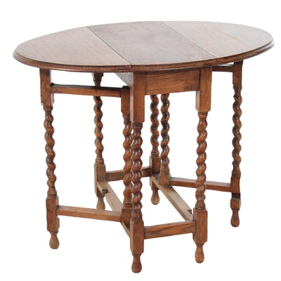 William and Mary Style Oak Gate-Leg Drop Leaf Table, Early 20th Century