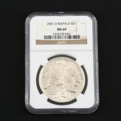 NGC Graded MS69 2001-D American Buffalo Commemorative Silver Dollar