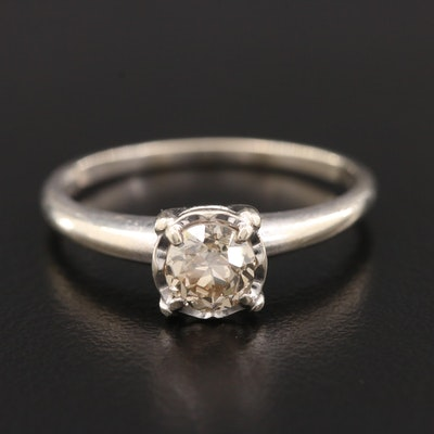 14K White Gold 0.70 CT Diamond Solitaire Ring