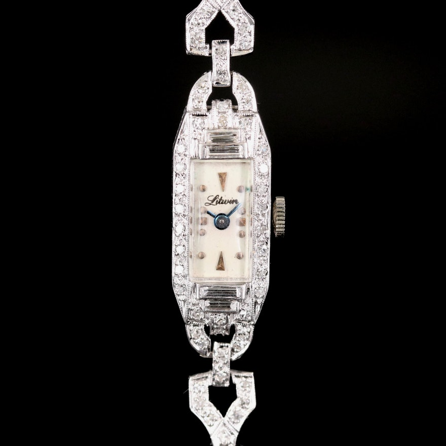 Vintage Litwin Platinum and Diamond Stem Wind Wristwatch