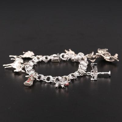 Vintage Sterling Silver Enamel Charm Bracelet