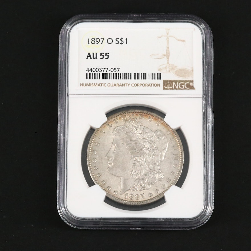 NGC Graded AU55 1897-O Morgan Silver Dollar