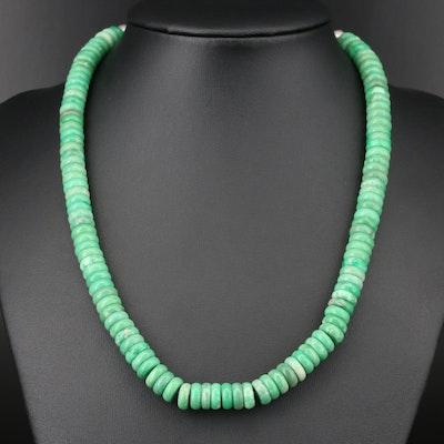 Southwestern Sterling Silver Variscite Beaded Necklace