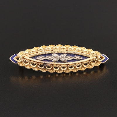 Art Nouveau 18K Yellow Gold Diamond and Enamel Brooch