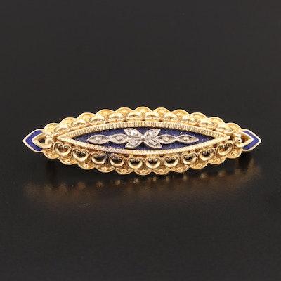Art Nouveau 18K Yellow Gold Diamond and Enamel Brooch