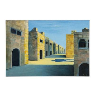 Farshad Lanjani Street Scene Oil Painting