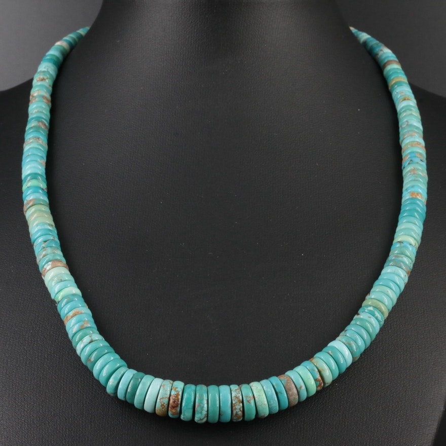 Southwestern Sterling Silver Variscite Graduated Beaded Necklace