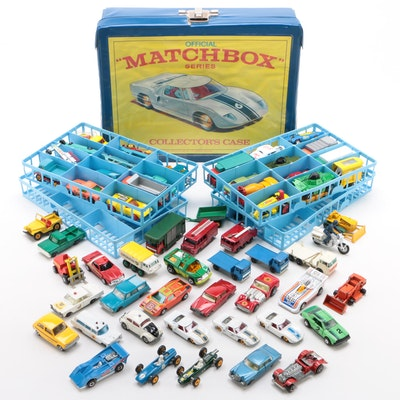 "Lesney ""Matchbox"" Model Toy Car Collection in Vinyl Case, Vintage"