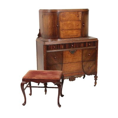 Chest-on-Chest in Mixed Wood Veneers and Queen Anne Style Stool