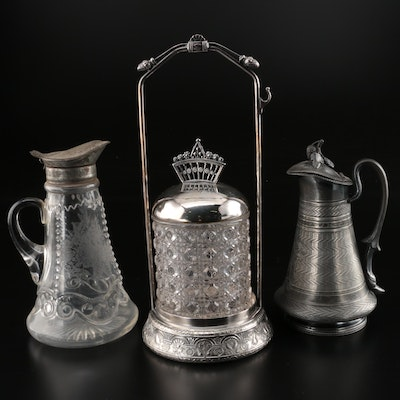 Victorian Middletown Plate Co. Silver Plate Condiment Jar with Syrup Jars