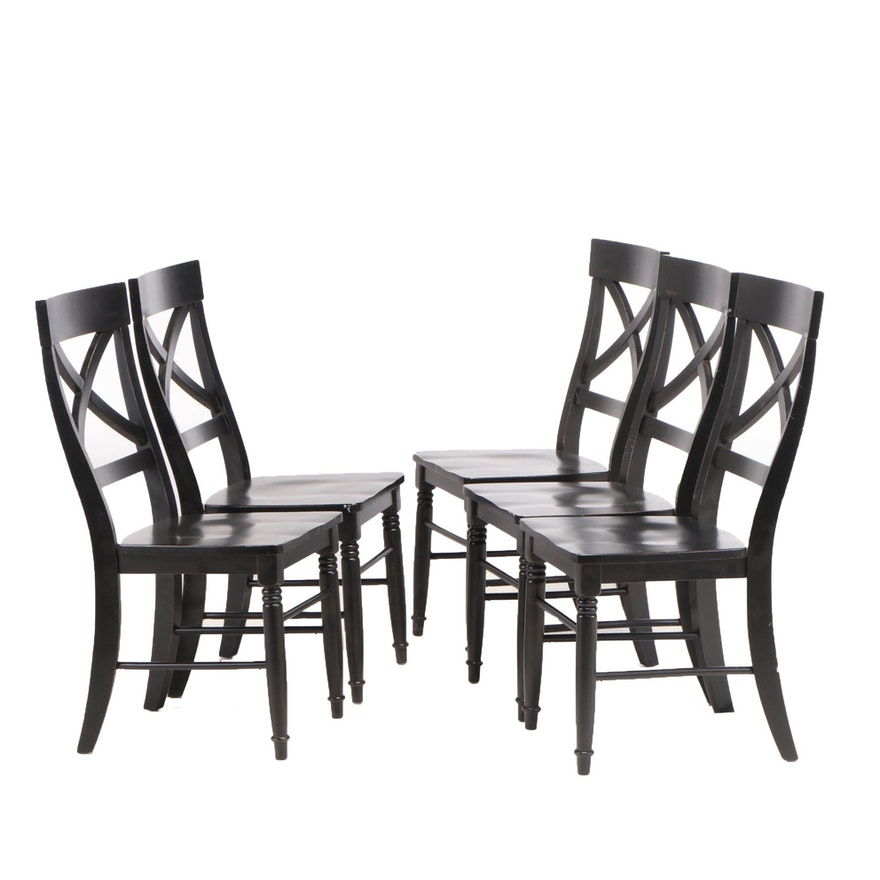 Five Ebonized X-Back Dining Side Chairs