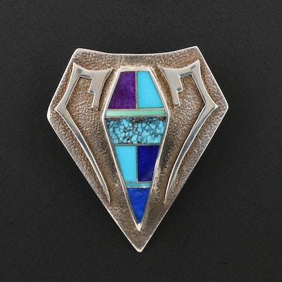 Southwestern Sterling Silver Turquoise, Sugilite and Lapis Lazuli Inlay Pendant