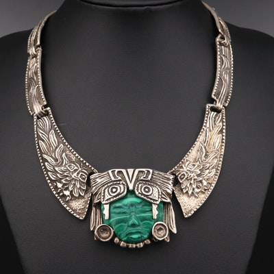 Taxco Sterling Silver Aztec Deity Necklace
