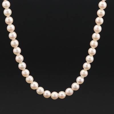 Pearl Necklace with 14K and 10K White Gold Clasp