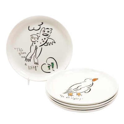 W.S. George Hand-Painted Whimsical Animal Plates, 1950s