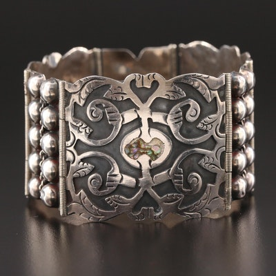 Mexican Sterling Silver Overlay Panel Bracelet with Abalone Accents