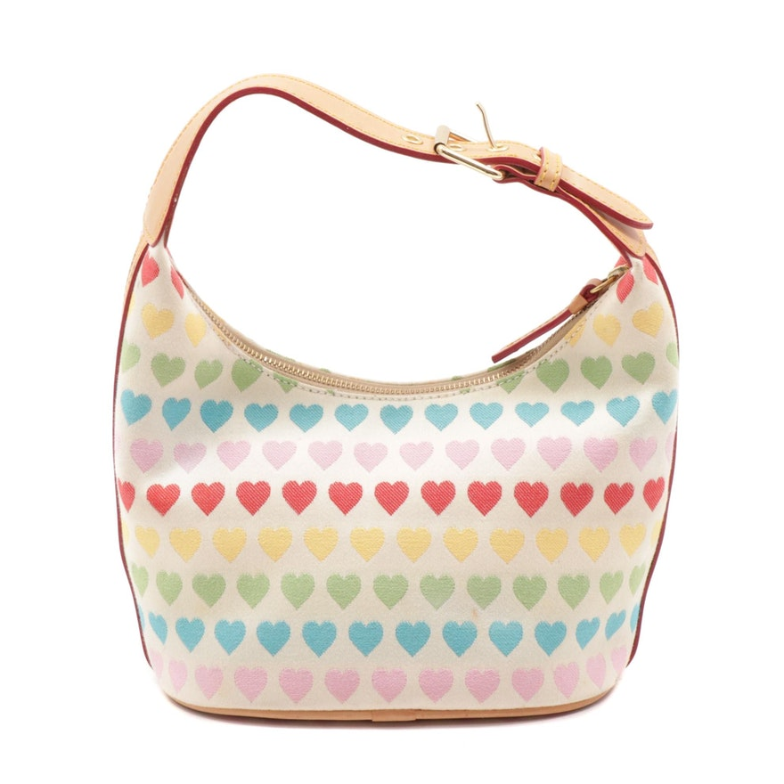 Dooney & Bourke Rainbow Heart Canvas Hobo Bag Trimmed in Leather