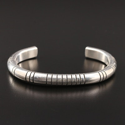 Micheal Tahe Navajo Diné Sterling Silver Cuff Bracelet