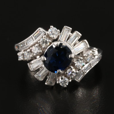 Platinum 1.15 CT Sapphire and Diamond Ring