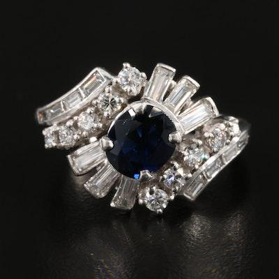 Platinum 1.15 CT Sapphire and Diamond Ring