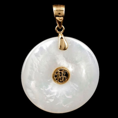 "10K Yellow Gold Mother of Pearl ""Good Fortune"" Pendant"
