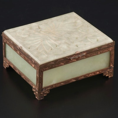 East Asian Carved Jadeite and Glass Jewelry Casket