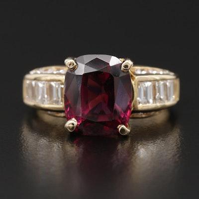 18K Yellow Gold Garnet and 1.48 CTW Diamond Ring