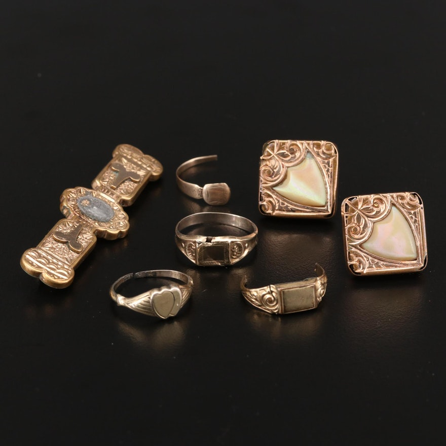 Victorian Assorted Jewelry Scap Missing and Partial Components