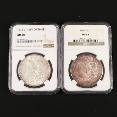 NGC Graded 1878 7TF and 1881-S Morgan Silver Dollars