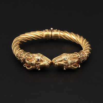 Vintage 18K Yellow Gold Emerald Ram's Head Bracelet