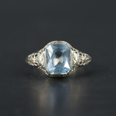 1930s 14K White Gold Spinel Ring
