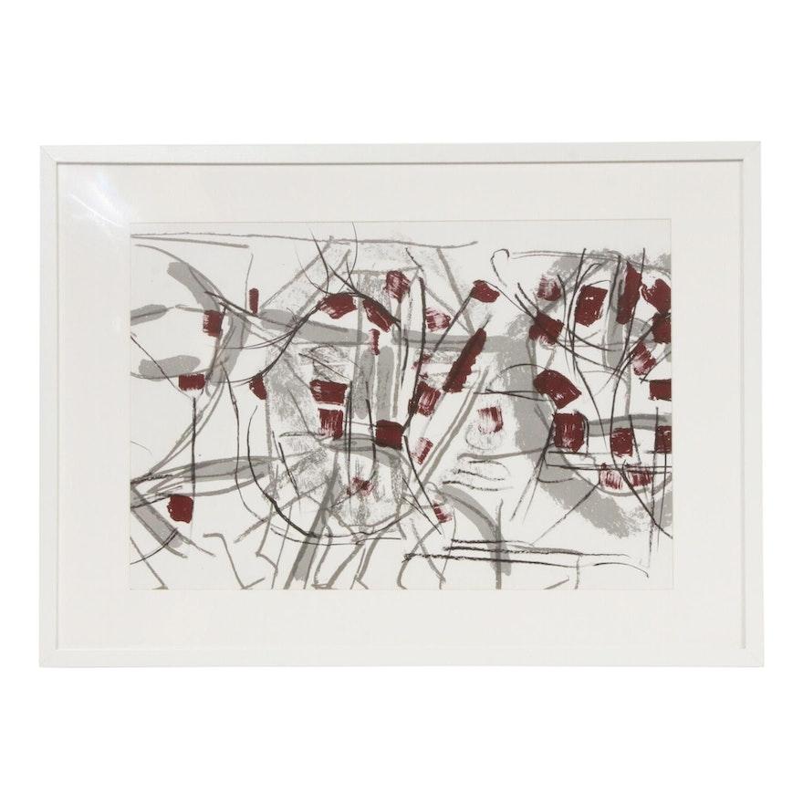 """Jean-Paul Riopelle Double-Page Color Lithograph for """"Derrière le Miroir,"""" 1974"""