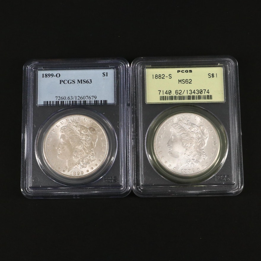 PCGS Graded 1882-S and 1899-O Morgan Silver Dollars