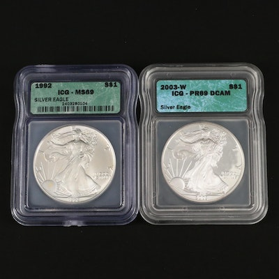 Two ICG Graded American Silver Eagle Bullion Coins, Proof and Uncirculated
