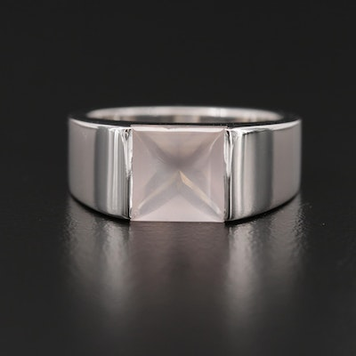 Cartier 18K White Gold Rose Quartz Ring